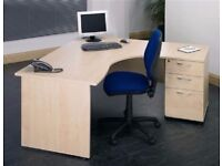 Radial Modern Maple Office Desk & Matching 3 Drawer Pedestal W180xD120xH73cm