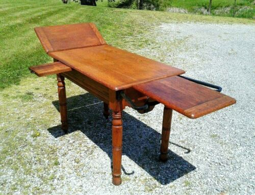 Antique Oak Doctors Examination Table Adjustable Gynecologist 1890s Era
