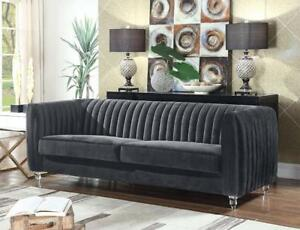 Kent Sofa in Quilted Grey Velvet on Turned Acrylic legs by Chic Home NEW ** 5 CORNERS FURNITURE **