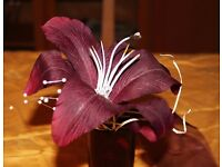 14 Small artificial flower table decorations purple, lilly