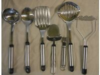 Metal Utensils - 7 pieces most with black hooks