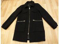 Topshop black boyfriend ladies wool mix coat size 10 new 89£