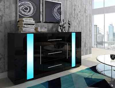 Kommode Sideboard Highboard LINE schwarz weiß matt Hochglanz LED blau Schubladen ()