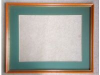Large wood picture frame, approx 67 x 54 cm, and matching size border mount