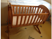 MOTHERCARE SOLID PINE WOOD SWINGING CRIB COT BED good condition