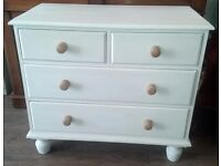 Lovely painted pine chest of drawers, shabby chic , chalk paint,