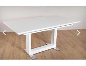 High gloss extendable dining table