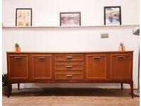 Vintage Mid Century Medium Teak Long Retro Sideboard Buffet Credenza #309