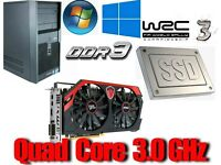 Gaming PC, Intel QUAD CORE 3.0GHz, R9 270 2GB Gddr5 , 8GB Ram, SSD Drive, 500GB