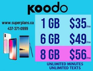 6GB $49/mo and 8GB $56/mo - KOODO UNLIMITED CELL PHONE PLAN - Ryan