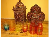Moroccan lighting, mirror, stand and candle holders - £50
