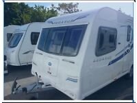 Caravan Bailey Pegasus Rimini 4 berth fixed single beds end washroom 2012