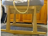 moses basket with stand in excellent condition