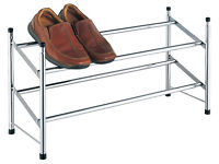 2 Tier Extendable Chrome Plated Shoe Storage Rack Stand Organiser Holder