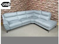 'CONTEMPO' 3 PIECE CORNER GROUP POWER RECLINER IN SILVER GREY FABRIC SOFA/SETTEE