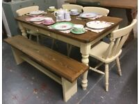 Lovely Solid Pine Farmhouse Table with 4 Chairs and Bench-Cream-Shabby Chic