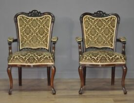Attractive Pair Of 2 Antique Edwardian Carved Mahogany Bedroom Armchairs Chairs