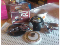 Retro fondue set (enamel) - fun for the family/ guests in this cold weather ...