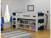 Boys Midsleeper Bed with Shelving - Frame only