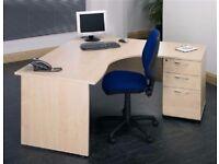 Stylish Satellite Cresent Beech Office Desk & 3 Drawer Matching Pedestal