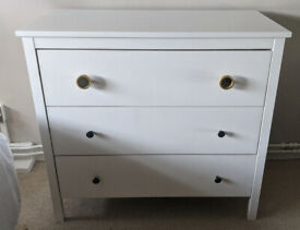 IKEA white chest of draws with two Anthropology knobs