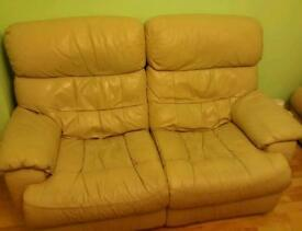 FREE Cream leather recliner 2seater sofa