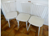 3 Painted Wooden Stickback Chairs - £25 for the 3