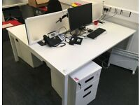Professional office workstation 2 positions desk table white with divider