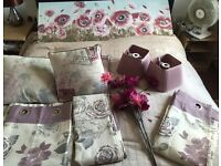 Stunning ring top curtains, cushions, flowers,light shades and canvas room makeover bundle!!