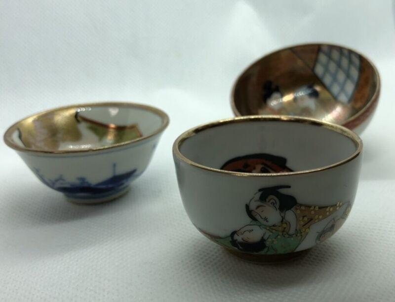 Japanese KUTANI Pottery Shunga Makura-e 3 Sake Cups SAKAZUKI GUINOM Japan