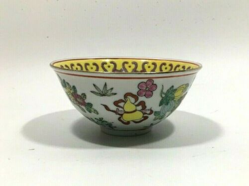 Old Chinese Porcelain Rice Bowl - Enamel - Hand Painted