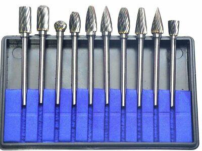 10pcs 18 Shank Tungsten Carbide Burr Rotary Drill Bit Tools Cut Files Set Kit