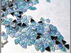Fiery Australian Opal Cabochon Trillion 6mm Triangle, QTY2, Natural Triplet