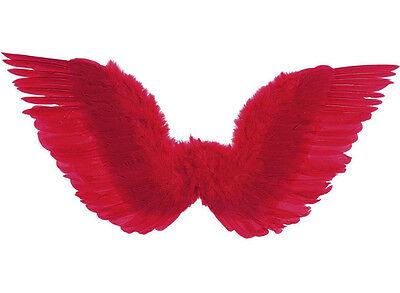 Gefederte rote Flügel, 86 x 31cm, Gothik Halloween Teufel Teufelin Dämon, (Rote Teufel Flügel)