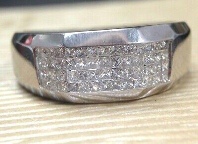 14K White Gold 1.56CT Invisible Set Princess Cut Diamond Men's Ring Size -