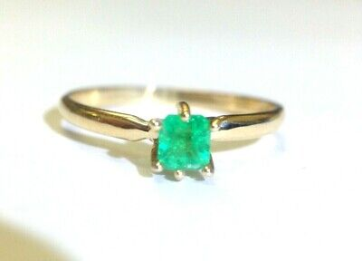 Glowing Engagement Ring (14K Yellow Gold Glowing Neon Green Colombian Emerald Engagement Ring Size)