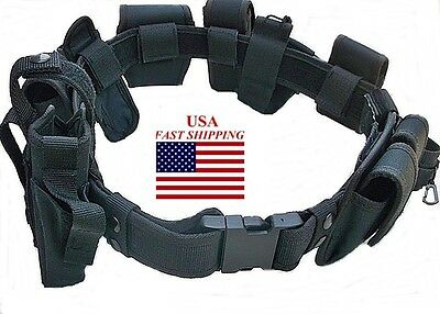 Duty Belt DELUXE 10 PC Police Officer Security Guard Law Enforcement Equipment - Pc Police Officer