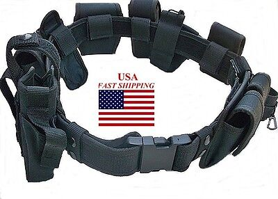 DELUXE 10 PC Police Officer Security Guard Law Enforcement Equipment Duty Belt
