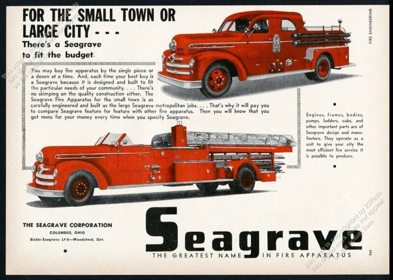 1954 Seagrave fire engine truck 2 models photo vintage trade print ad
