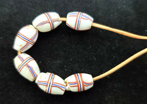 (6)Antique Trade Beads-White French Cross-Bodoum-Red White Blue Crossed Lines