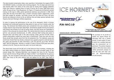 Matterhorn Circle Hielo Hornets 72008 FA-18c & D Mirage Hawker Hunter Pegatinas