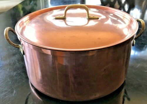 Vintage Copper Tin Brass 2 Quart Double Brass Handled Pot with Lid Portugal