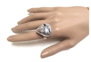 NEW Unisex Sterling Silver & Large Ocean Jasper Gemstone Ring RRP $70 North Melbourne Melbourne City Preview