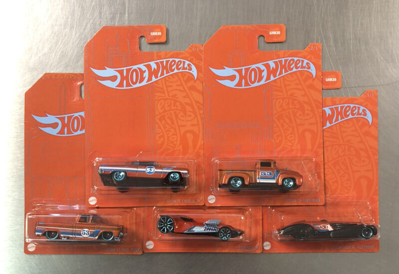 NEW HOT WHEELS 2020 BLUE & ORANGE SERIES ( SET OF 5 ) '62 CHEVY PICKUP, '56 FORD