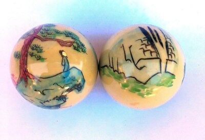 A set of Chinese Handprint BaoDing IRON Balls W/ Musical Chimes, Pine & Mountain