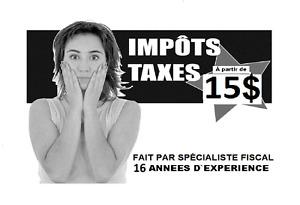 Impôts  à partir de 15$ (TED) 16 années D'EXPÉRIENCE