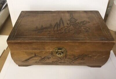 Vintage Wooden Jewellery Box with Chinese Design On top - Red Interior .mirror