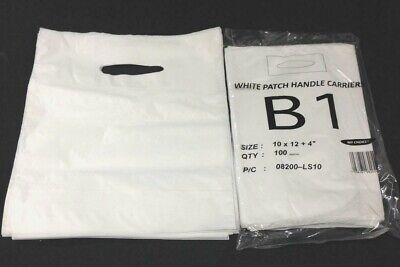 1000 White Patch Handle Carrier Gift Retail Shopping Plastic Bags 10x12x4 - B1