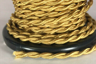 Brass Twisted Wire - Antique Brass Twisted Rayon Covered Wire Vintage Style Cloth Lamp Lights Cord