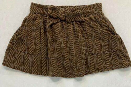 Zara Girls 4 4T Brown Herringbone Tweed Bow Skirt with Pockets